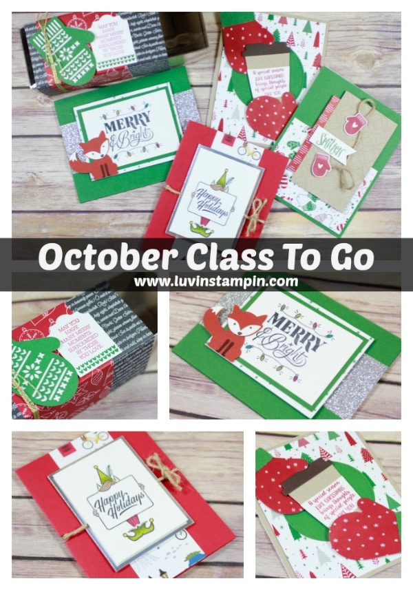 October Class To Go kits. All projects are fun Christmas projects this month. Wendy Cranford luvinstampin.com