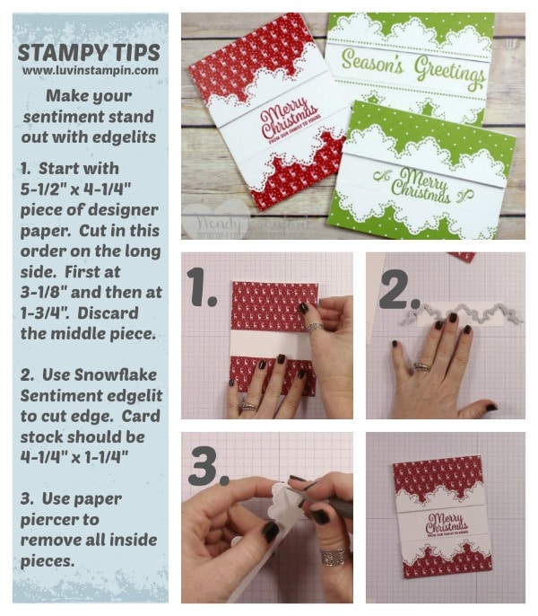 Edgelit trimmed sentiments featuring the Snowflake Sentiment stamp set from Stampin' UP! Wendy Cranford www.luvinstampin.com