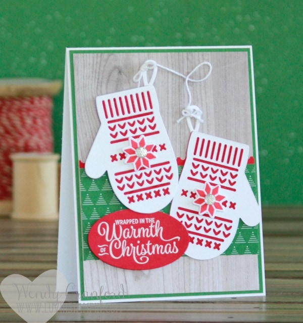 Simple and fun Smitten Mittens stamp set and framelit set Christmas cards. Wendy Cranford www.luvinstampin.com