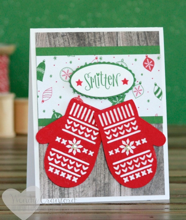 Simple and fun Smitten Mittens stamp set and framelit set Christmas cards. Wendy Cranford luvinstampin.com