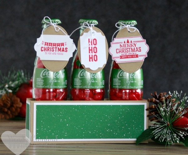Make super simple Christmas gifts with coke bottles and a few Stampin' UP! products Wendy Cranford www.luvinstampin.com