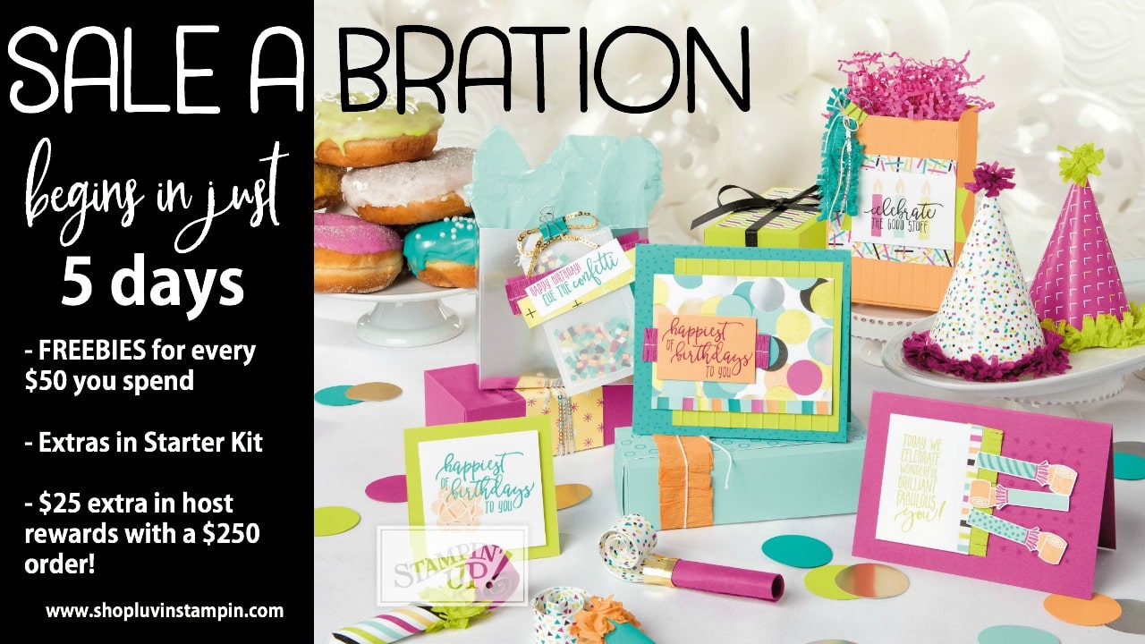 Stampin' UP! Sale A Bration 2018 begins on January 3rd 2018. Get FREE items for every $50 you spend. Wendy Cranford luvinstampin.com