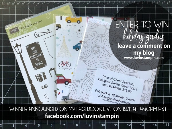 Win some holiday stamps and designer series paper by simply leaving a comment on my blog post. Wendy Cranford www.luvinstampin.com