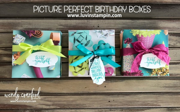 Picture Perfect Birthday Box from Picture Perfect DSP and Picture Perfect stamp set Wendy Cranford luvinstampin.com