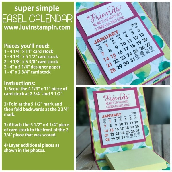 Simple easel calendar and post it note holder gift. Instructions at www.luvinstampin.com Wendy Cranford
