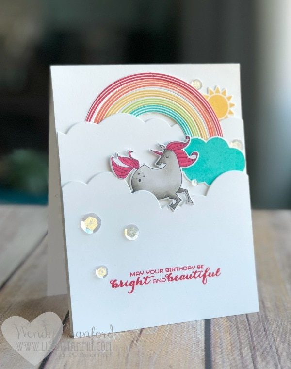 Clean and simple super fun birthday card featuring the Rainbows & Sunshine Bundle from Stampin' UP! Wendy Cranford www.luvinstampin.com