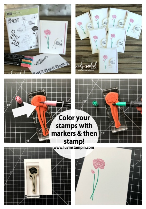 Flirty Flowers stamp set Stampin' UP! #coloringtechniques #stampinup #flirtyflowers Wendy Cranford www.luvinstampin.com