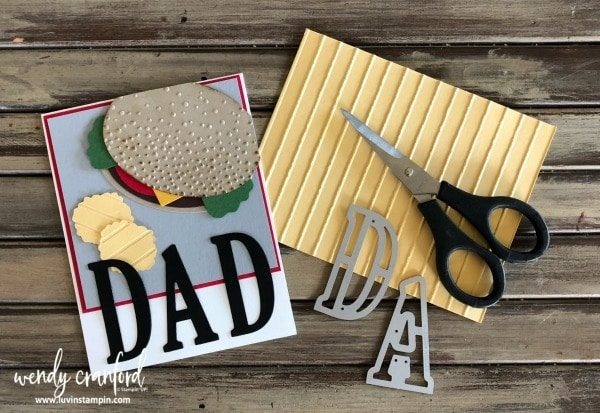 Hamburger punch art card for Fathers Day card Wendy Cranford www.luvinstampin.com #fathersday #hamburger #punchart
