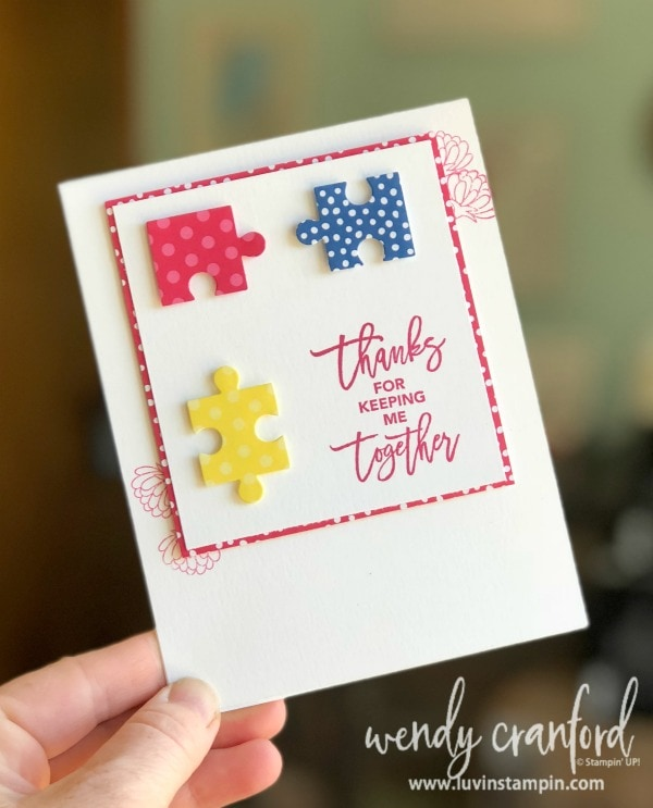 Simple card using Love You To Pieces from Stampin' UP! created for #GDP146 Wendy Cranford www.luvinstampin.com