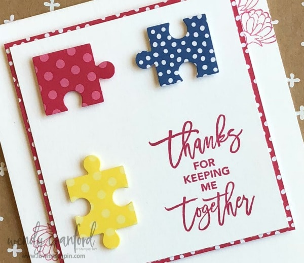 Simple card using Love You To Pieces from Stampin' UP! created for #GDP146 Wendy Cranford luvinstampin.com