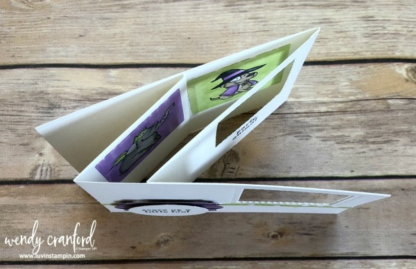 Peek a boo card tutorial featuring Trick Or Treat from Stampin' UP! Wendy Cranford luvinstampin.com #halloweencard #peekaboocard #fancyfoldcard #cardmaking