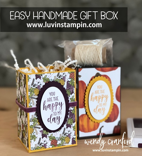 Easy handmade gift box idea featuring Stampin' UP! Country Home stamp set and Country Lane designer paper #countryhome #handmadegiftbox #diygiftbox #luvinstampin Wendy Cranford luvinstampin.com