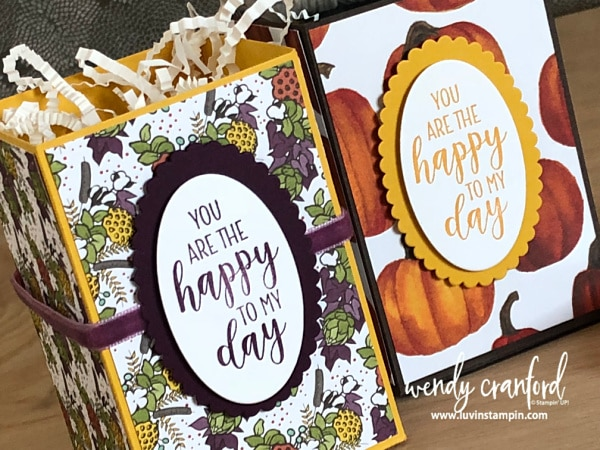 Easy handmade gift box idea featuring Stampin' UP! Country Home stamp set and Country Lane designer paper #countryhome #handmadegiftbox #diygiftbox #luvinstampin Wendy Cranford www.luvinstampin.com
