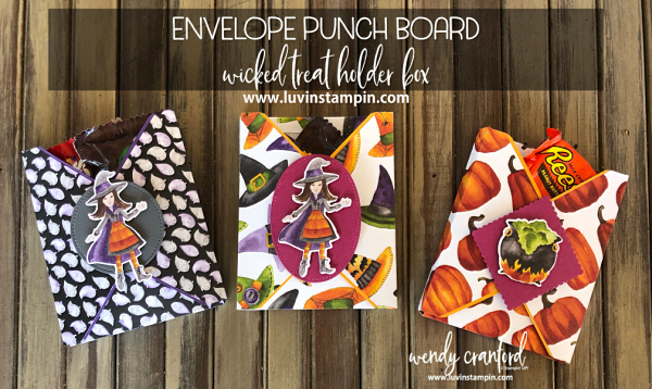 Create a fun Treat Holder Box with the Envelope Punch Board from Stampin' UP! Wendy Cranford luvinstampin.com #envelopepunchboard #halloweentreatholder #halloweentreat #treatbox #stampinup #luvinstampin