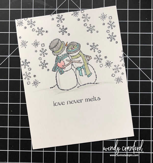 Spirited Snowman stamp set, simple stamping and stepped up Wendy Cranford luvinstampin.com #luvinstampin #stampinup #christmascard #simplestamping