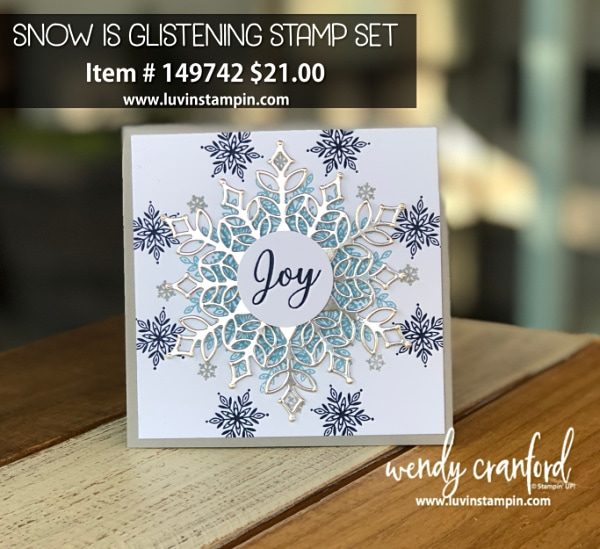 Snow is glistening stamp set available Nov 1 - Nov 30th or while supplies last www.shopluvinstampin.com #christmascard