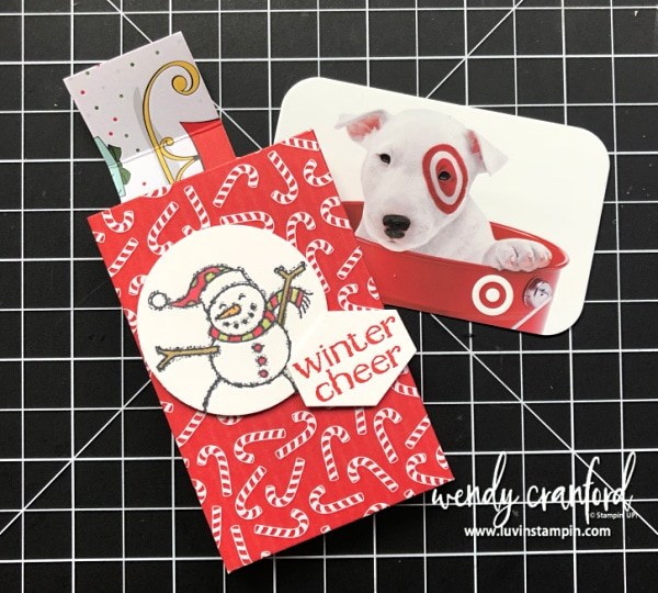 Snowman Gift Card Holder created from Starbuck deconstructed gum package Wendy Cranford luvinstampin.com #giftcardholder #christmascrafts #handmade #luvinstampin #stampinup