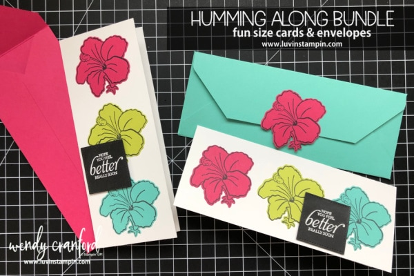 Fun size fold card featuring Humming Along Bundle from 2019 Stampin' UP! Occasions catalog Wendy Cranford luvinstampin.com #stampinup #luvinstampin #crafts #create #cardmaking #hummingalongbundle #occasionscatalog