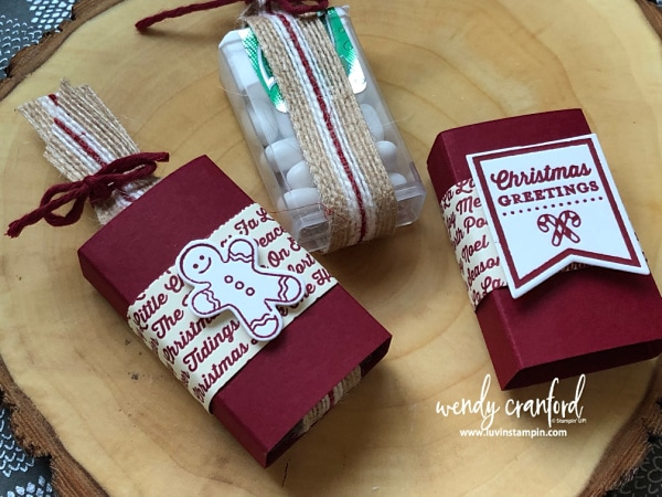 Simple handmade stocking stuffer tic tac holders Wendy Cranford luvinstampin.com #christmas #stockingstuffer #12weeksofchristmas