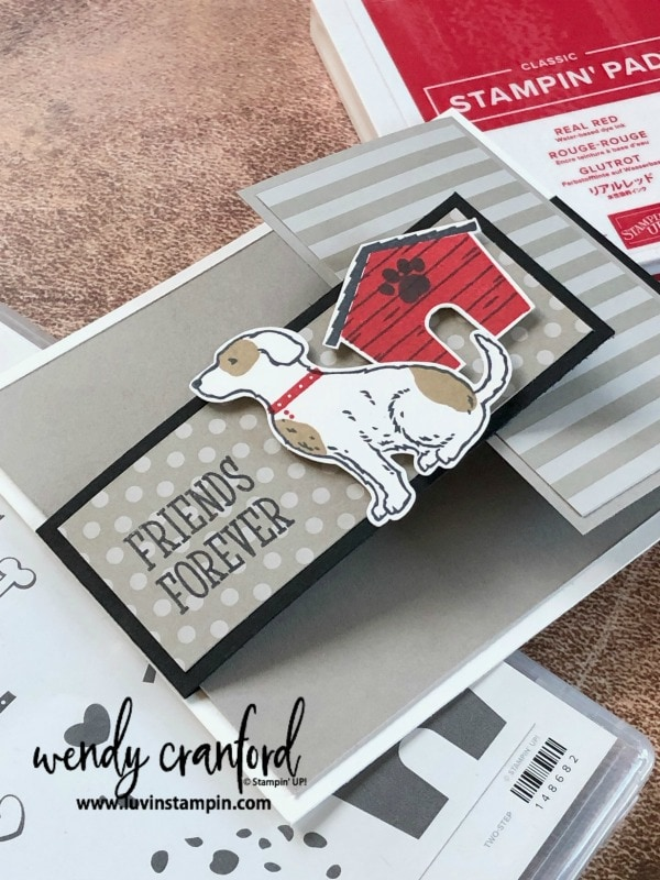 Create adorable cards using the Happy Tails Bundle. This weeks Product Spotlight Wendy Cranford luvinstampin.com #luvinstampin #stampinup #cardmaking #create #puppylove