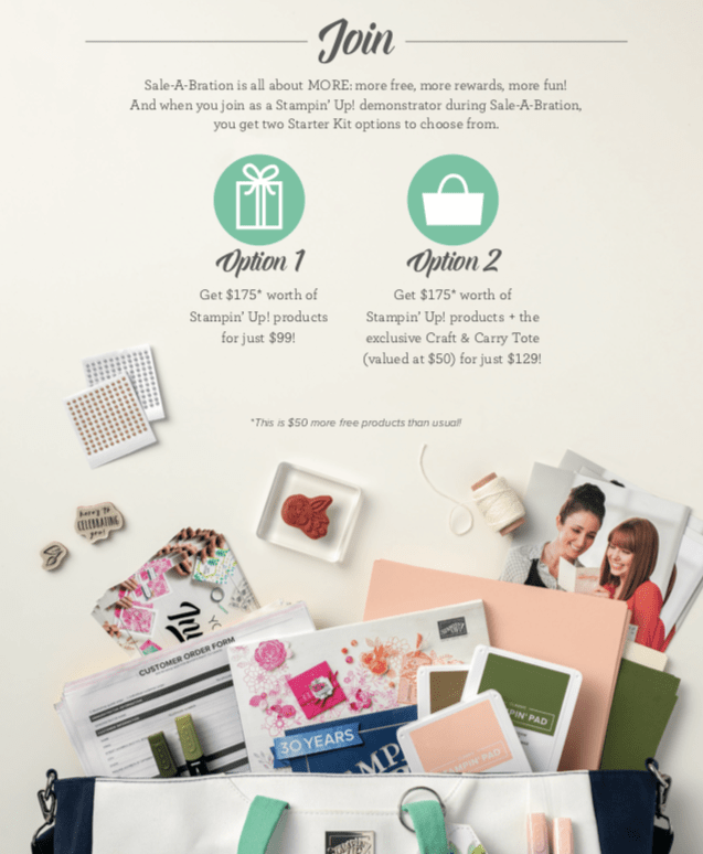 Join Stampin' UP! for just $99 or $129 if you want to add the Craft & Carry tote #luvinstampin #stampinup