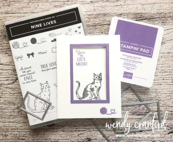 Nine Lives Stampin' UP! stamp set window card Wendy Cranford luvinstampin.com #ninelivesstampinup #luvinstampin #stampinup #cardmaking #animals #cats