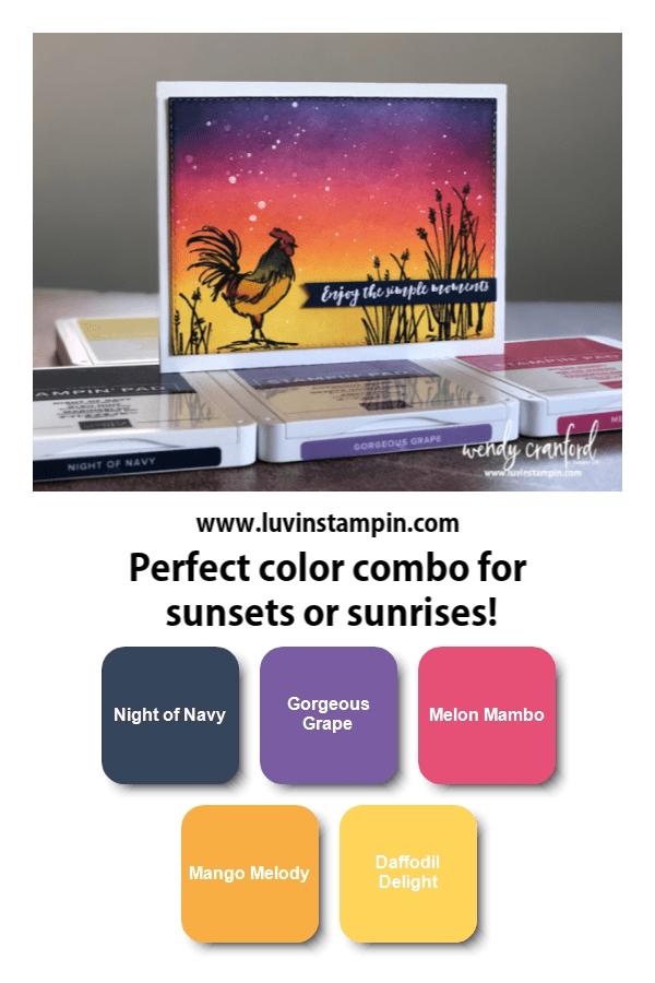 Home To Roost stamp set from Stampin' UP! is free with a $50 order. The color combo is perfect for sunsets and sunrises Wendy Cranford luvinstampin.com #colorinspiration #colorcombinations #luvinstampin #stampinup