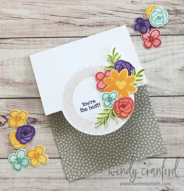 Partial die cutting technique used for creating fun and unique handmade cards.  Features Bouquet Blooms bundle from Stampin' UP! Wendy Cranford www.luvinstampin.com #luvinstampin #stampinup #bouquetblooms #partialdiecutting