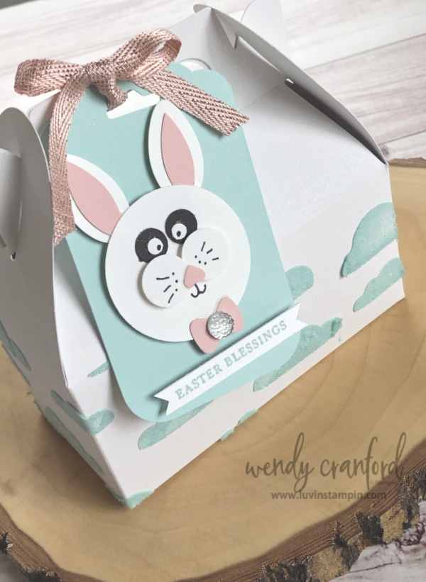 Punch art bunny tag for easter gift #punchart #luvinstampin #stampinup #wendycranford www.luvinstampin.com