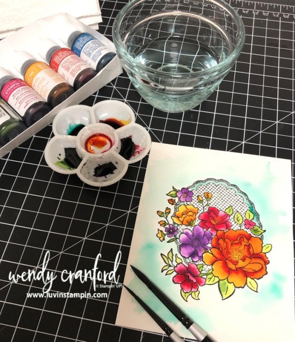 How to watercolor with Stampin' UP! ink refills. #stampinup #luvinstampin #watercolor #cardmaking Wendy Cranford wwwl.luvinstampin.com
