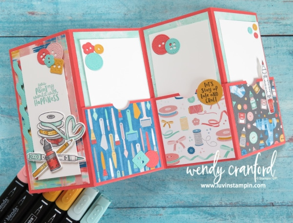 How to make a quad fold pocket card featuring Stampin' UP! products. Wendy Cranford Luvin Stampin www.luvinstampin.com #stampinup #quadfoldcard #quadfoldpocketcard