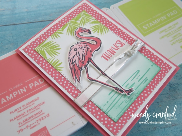 Stampin' UP! Fabulous Flamingo stamp set is perfect for creating tropical cards. Luvin' Stampin' Wendy Cranford www.luvinstampin.com #inkblending #stampinup #luvinstampin #tropicalcard #thankyoucard