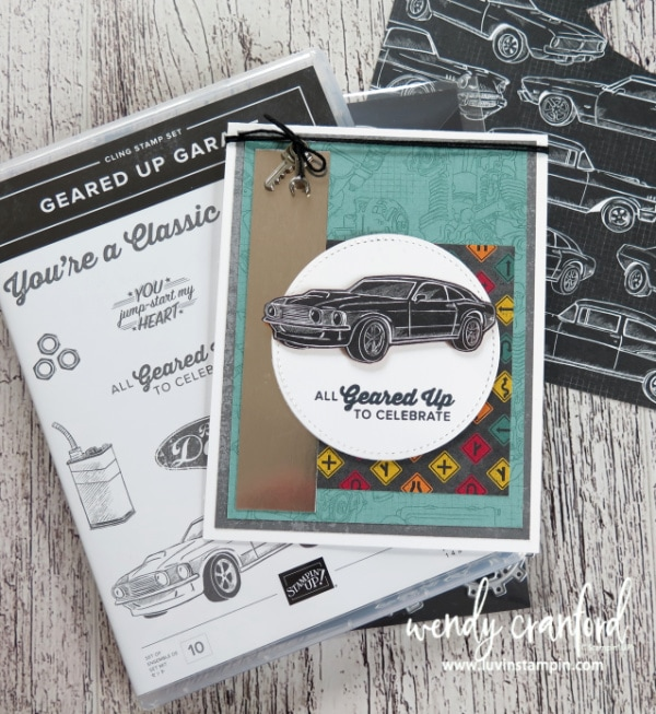 Geared Up Garage stamp set from Stampin' UP! for a graduation card. Wendy Cranford www.luvinstampin.com