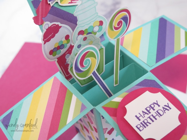 Sweetest Thing Bundle to create a fun Pop UP Box card.  Details on blog, measurements and video Wendy Cranford www.luvinstampin.com