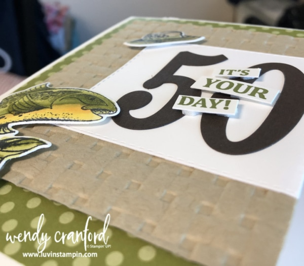 Manly birthday card for 50th birthday featuring the Best Catch Stampin' UP! Bundle Wendy Cranford www.luvinstampin.com