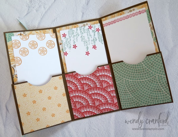 How to make a tri fold pocket card featuring the Stampin' UP! Mosaic Mood suite of products Wendy Cranford www.luvinstampin.com #stampinup #luvinstampin #trifoldcard #cardmaking