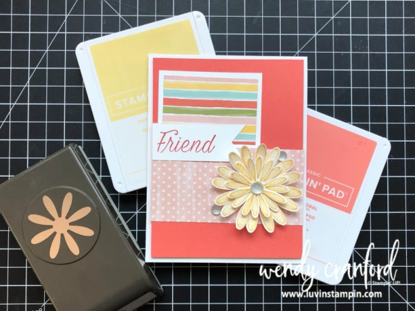 New medium daisy punch goes with two Stampin' UP! stamp sets Wendy Cranford www.luvinstampin.com