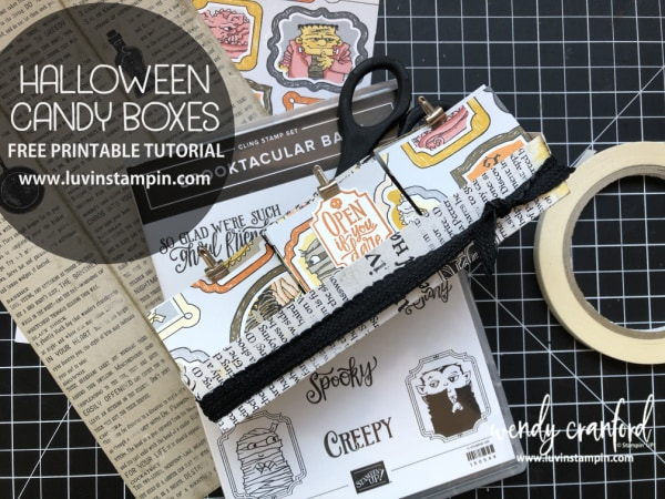Halloween candy boxes featuring Stampin' UP! Monster Bash Designer Series paper and the Stampin' UP! Spooktacular Bash Bundle #luvinstampin #stampinup #halloween #handmade