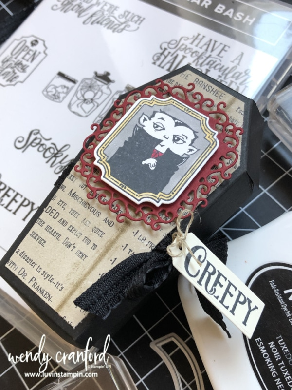 Creepy Coffin Box featuring the Stampin' UP! Spooktacular Bash Bundle from the new 2019 Holiday Catalog. #luvinstampin #stampinup #halloween #handmade