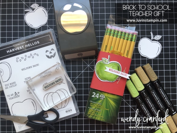 Back to school teacher gift featuring 2019 Stampin' UP! Harvest Hellos stamp set.