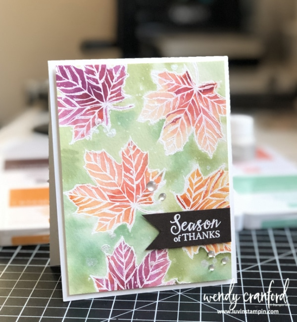 Fall watercolor leaves created using Stampin' UP! ink and the Come Gather stamp set. #watercolor #handmade #fallcolors #embossingtechnique