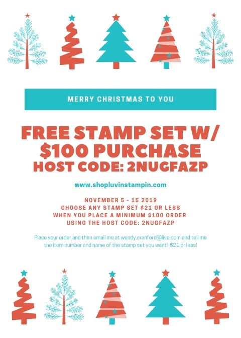 Free stamp set with $100 minimum order.  Offer valid 11/5-11/15 #stampinup #luvinstampin #freestampset