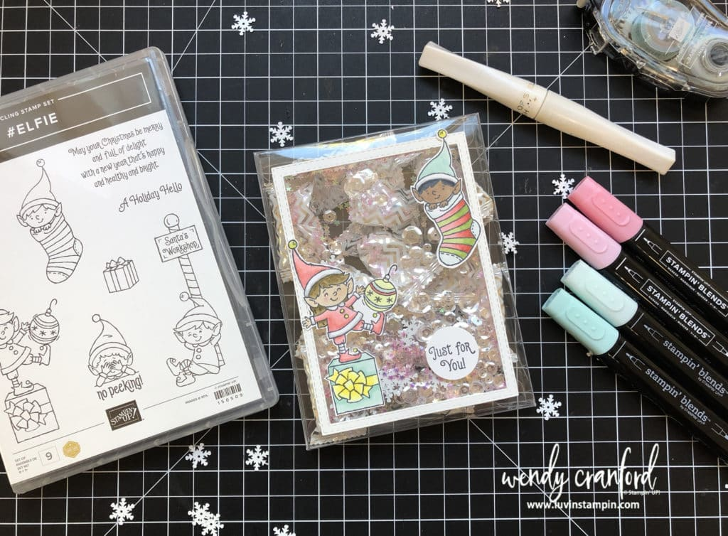 Elfie shaker gift box featuring Stampin' UP! product.  #shakerbox #stampinup #luvinstampin