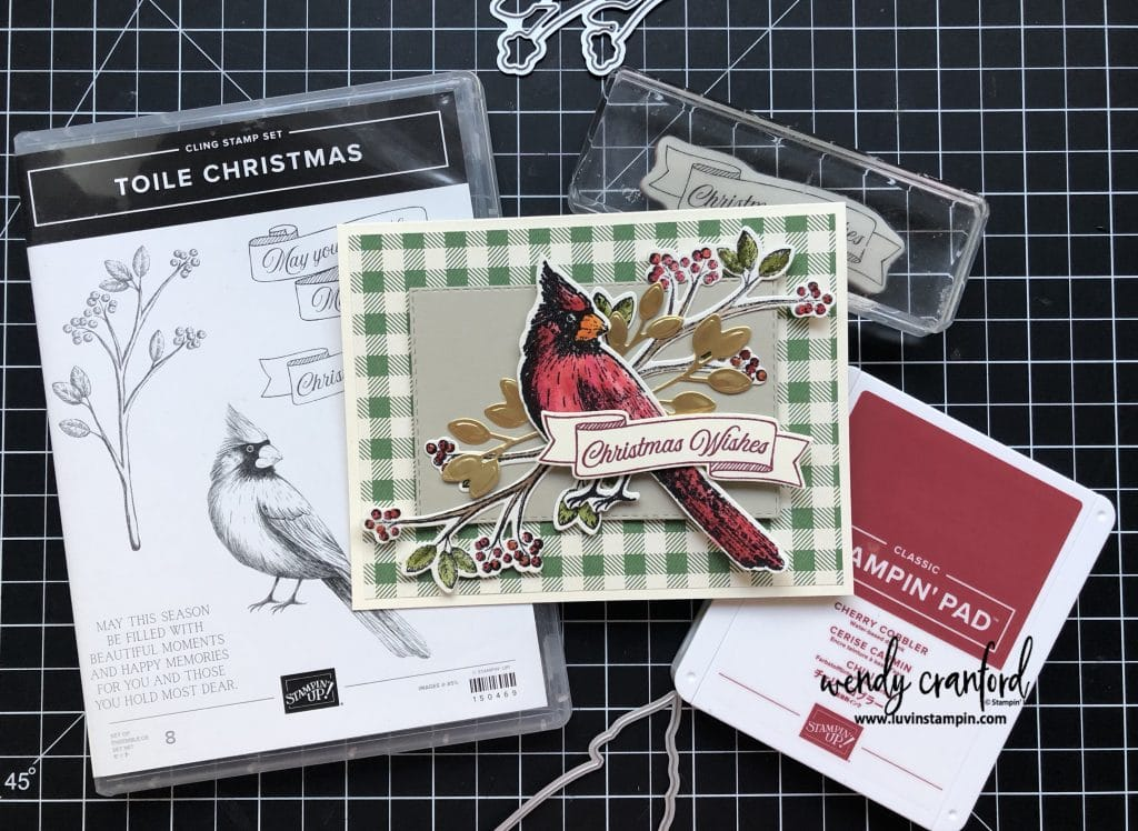 Toile Christmas Bundle from Stampin' UP! makes a beautiful card.  I love the watercolor look of the Cardinal. #christmascard #stampinup #luvinstampin #christmas #handmade