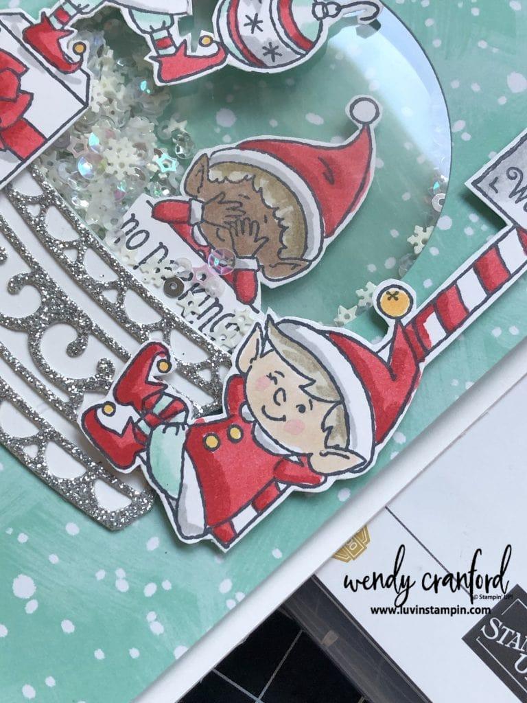 #elfie stampin up stamp set makes adorable shaker cards. #luvinstampin #stampinup #christmascard #crafts #papercrafting #cardmaking