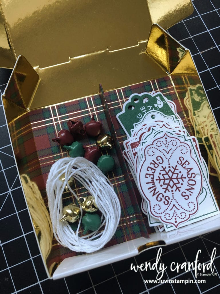 Christmas gift tags in box featuring the Tags Tags Tags bundle from Stampin UP! #luvinstampin #stampinup #crafts #papercrafting #christmastags