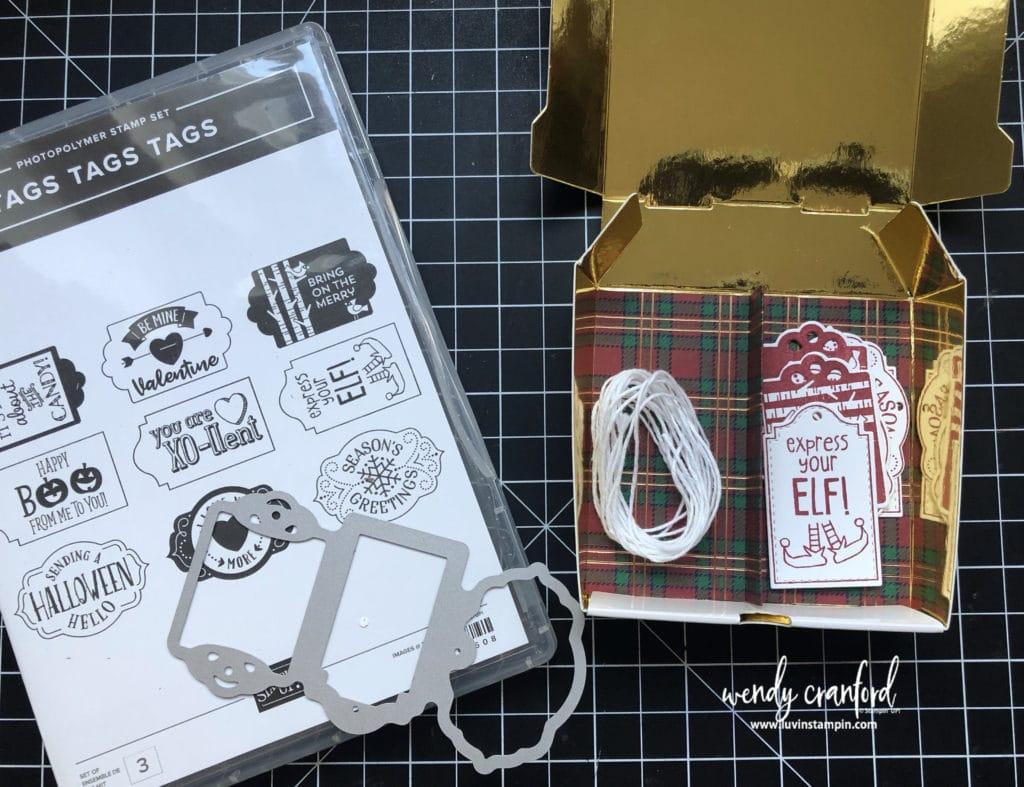 Christmas gift tags in box featuring the Tags Tags Tags bundle from Stampin UP! #luvinstampin #stampinup #crafts #papercrafting #christmastags Christmas gift tags in box featuring the Tags Tags Tags bundle from Stampin UP! #luvinstampin #stampinup #crafts #papercrafting #christmastags