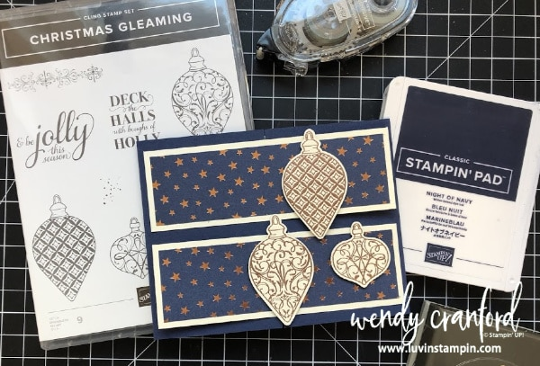 Fun fold Christmas card featuring the Brightly Gleaming Designer Series Paper from Stampin' UP!  #christmascard #stampinup #luvinstampin