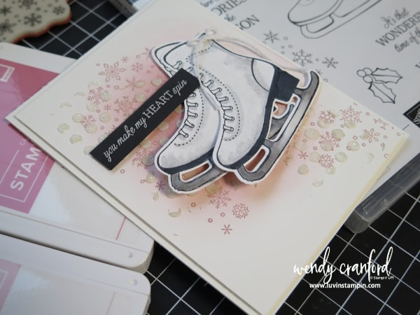 Free skate stamp set from Stampin' UP! used to create this beautiful winter card www.luvinstampin.com #stampinup #luvinstampin #christmascard