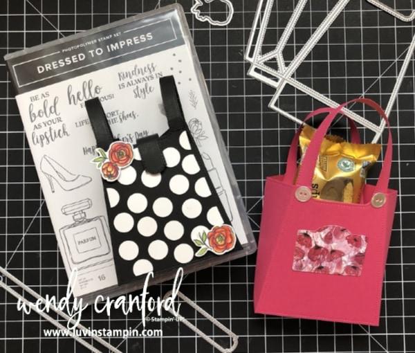Handmade Gift Card Bag with the Dressed To Impress bundle from Stampin' UP! #luvinstampin #stampinup #dressedtoimpressbundlestampinup